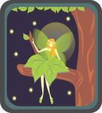Fairy forest. A Figure of Little fairy forest sit at a branch Royalty Free Stock Photos