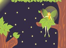 Fairy forest and fireflies. Little fairy forest sit at a branch waching the light of fireflies Stock Images