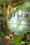 Fairy forest with a waterfall. Deer lying on the grass. squirrel sitting on a tree. The Fairy forest with a waterfall. Deer lying on the grass. squirrel sitting royalty free stock image
