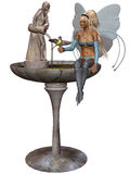 A fairy at the fountain Royalty Free Stock Photos
