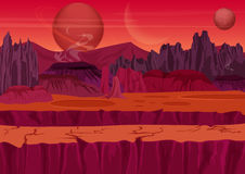 Fairy game Sci-fi Alien Landscape. Nature on another planet with mountains, rocks and planets in the sky. UI Gaming Stock Photos