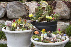 Fairy garden in a flower pot outdoors Royalty Free Stock Photography