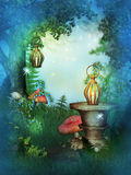 Fairy Garden with mushrooms Royalty Free Stock Photography