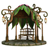 Fairy gazebo. 3D render of a fairy gazebo with lamps and wooden bench Stock Photo