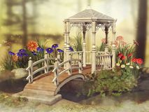 Fairy gazebo on a meadow. Colorful scene with a fairy gazebo and colorful daisy flowers on a meadow royalty free illustration