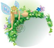 Fairy girl. Raster version of vector greeting card with a fairy girl with blue wings seated near the water bordered by dewed plants and flowers Stock Photography