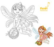 Fairy girl with a basket filled fruit  color and outlined Royalty Free Stock Image