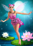 Fairy girl. Beautiful doll fairy girl 3D render illustration Royalty Free Stock Photo
