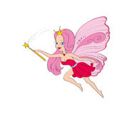 Fairy girl. Fairy beautiful girl with pink dress and wings flying with magic wand Royalty Free Stock Photography