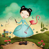 Fairy girl with Flamingo. royalty free illustration