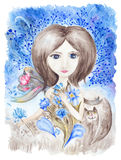 Fairy Girl with Flowers Watercolor Illustration Stock Photo
