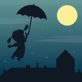 Fairy Girl Flying Silhouette. A fairy girl flying with an umbrella over a city with a big moon in the sky. Eps file available Stock Photos