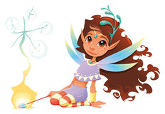 Fairy girl with magic wand. Royalty Free Stock Photo