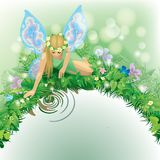Fairy girl. Raster version of vector illustration with a fairy girl with blue wings seated near the water bordered by dewed plants and flowers. There is in Stock Images