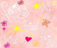 Fairy girls background. Girly pink fairy background with flowers stock illustration