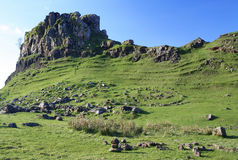 The Fairy Glen, Skye. Detail of the Fairy Glen, Isle of Skye, an area popular with white witches. A 'magic' spiral of stones can be sen in the foreground below Stock Photography