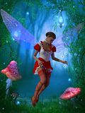 Fairy with Glow flies. A flying fairy tries to capture a glow fly in the magical forest Royalty Free Stock Photos