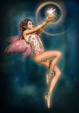 Fairy with glowing Bird, 3d CG Stock Images