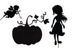 Fairy Godmother, Cinderella and Pumpkin shadow puppets on white Stock Image