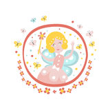 Fairy Godmother  Tale Character Girly Sticker In Round Frame. Fairy Godmother Fairy Tale Character Girly Sticker In Round Frame In Childish Simple Design  On Royalty Free Stock Image