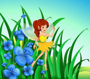 A fairy guarding the flowers. Illustration of a fairy guarding the flowers Royalty Free Stock Photos