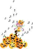 A fairy of the Halloween is singing a song. Royalty Free Stock Photography