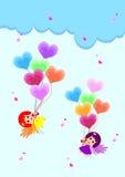Fairy with heart balloon Stock Image