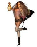 Fairy Holding A Candle Lantern Stock Image