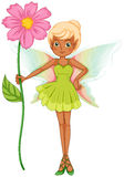 A fairy holding a fresh pink flower Royalty Free Stock Photos
