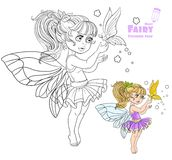 Fairy holding a large butterfly on the finger color and outlined Stock Images