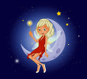 A fairy holding a magic wand sitting at the crescent moon Stock Photos