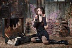 Fairy Holds Loupe Royalty Free Stock Image