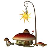 Fairy house 1. 3D render of a mushroom fairy house Royalty Free Stock Photos