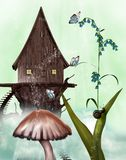 Fairy House. With mushroom and butterfly Royalty Free Stock Photos