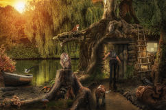 Fairy House By The Pond Royalty Free Stock Photos