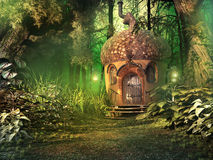 Fairy house in deep forest. Deep forest scenery with fairy house, trees and plants royalty free illustration