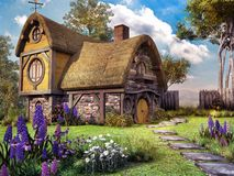 Fairy house. Fairytale scenery with old wooden house and flowers Royalty Free Stock Photos