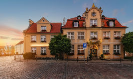 Fairy house in Gdansk, Poland during sunset. Royalty Free Stock Photography