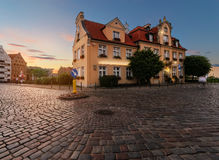 Fairy house in Gdansk, Poland on sunset. Royalty Free Stock Photography