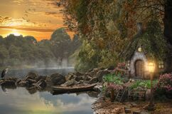 Fairy house on the lake. Illustration of a fictional situation, in the form collage of photos