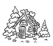 Fairy house small hut coloring pages Stock Image