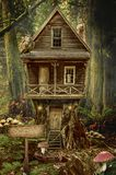 Fairy house (stump). Series, fairy house (stump), a fictional illustration of house and the situation in the form of a collage of photos Royalty Free Stock Images