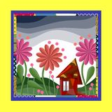Fairy house surrounded by flowers. Bandana print or silk neck scarf Stock Image