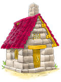 Fairy house from Three Little Pigs fairy tale. Fairy house of bricks, tile and stones from Three Little Pigs fairy tale Royalty Free Stock Photos