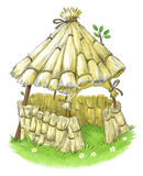Fairy house from Three Little Pigs fairy tale. Fairy straw house from Three Little Pigs fairy tale Stock Photo