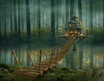 Fairy house and wooden bridge on the river. Fairy house on the river and wooden bridge. Photomanipulation. 3D rendering stock illustration