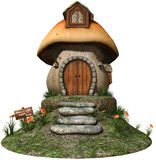 Fairy house with yellow flowers. 3D render of a colorful fairy house with yellow flowers Royalty Free Stock Photos