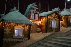 Fairy houses. Fabulous Christmas houses Royalty Free Stock Photos