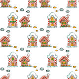 Fairy houses isolated on white background. Merry Christmas. Snowfall. Winter. Seamless pattern. Vector illustration Stock Images