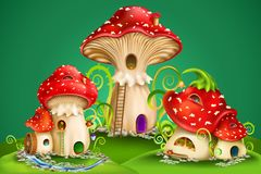 Fairy houses red mushrooms with water mill, golden bell and owls. Magic mushroom group. fairy houses red mushrooms with water mill, golden bell and owls royalty free illustration